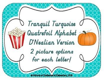 Tranquil Turquoise Quatrefoil Alphabet Cards: D'Nealian Version