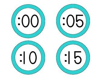 Tranquil Turquoise Quatrefoil Clock Numbers