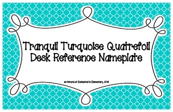 Tranquil Turquoise Quatrefoil Desk Reference Nameplates
