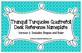 Tranquil Turquoise Quatrefoil Desk Reference Nameplates Version 2
