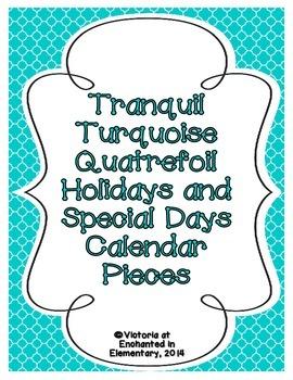 Tranquil Turquoise Quatrefoil Holiday Calendar Pieces