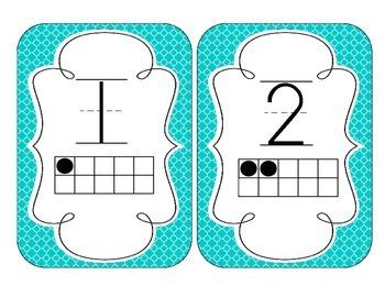 Tranquil Turquoise Quatrefoil Number Cards 1-20
