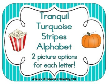 Tranquil Turquoise Stripes Alphabet Cards