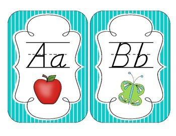 Tranquil Turquoise Stripes Alphabet Cards: D'Nealian Version