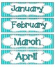 Tranquil Turquoise Stripes Calendar Numbers, Months and Days