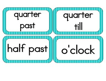 Tranquil Turquoise Stripes Clock Numbers