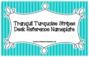Tranquil Turquoise Stripes Desk Reference Nameplates