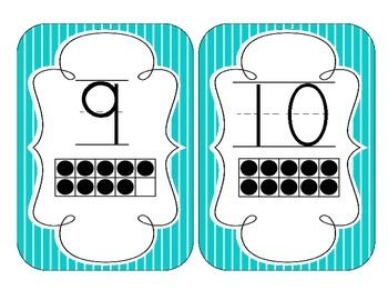 Tranquil Turquoise Stripes Number Cards 1-20