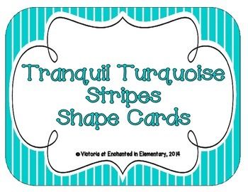 Tranquil Turquoise Stripes Shape Cards