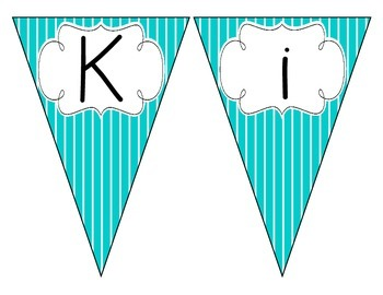 Tranquil Turquoise Stripes Welcome Pennant