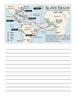 Transatlantic Slave Trade Map Notebooking Page 1 by Knowledge Nuggets