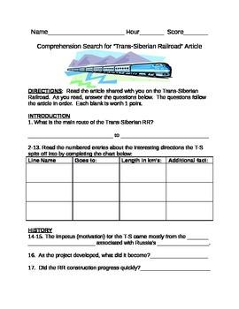 Trans-Siberian Railroad Article & Search