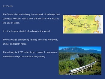 Trans Siberian Railroad - Power point - full history facts etc.