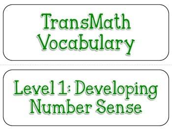 TransMath Level 1 Vocabulary Word Cards