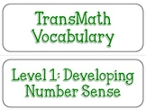 TransMath Level 1 Vocabulary Word Cards