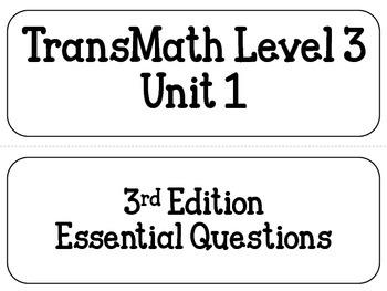 TransMath Level 3 Essential Questions