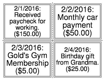 Transactions Balance Sheet Task Cards (20 Transactions)