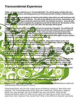 Transcendental Activites--Reflective Essay, Rubric, Lit Circles