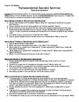 Transcendental Socratic Seminar Preparation Questions