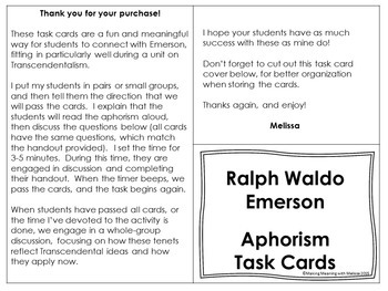 Transcendental Task Cards, Emerson, High School