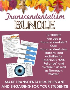 Transcendentalism BUNDLE - Fun quiz, stations, & activities (Emerson & Thoreau)