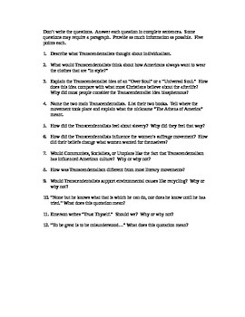 Transcendentalism Constructed Response Study Guide or Exam