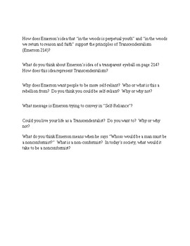 Transcendentalism Discussion Questions