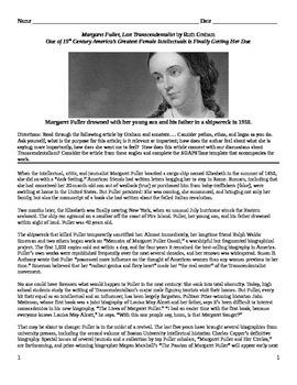 """Transcendentalism: Informational Text - """"Margaret Fuller, Lost..."""""""