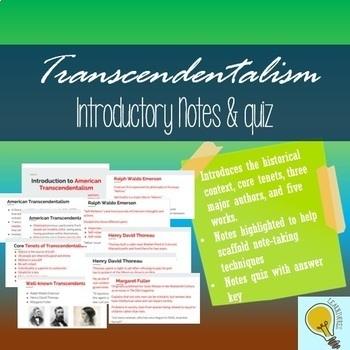 Transcendentalism Introduction Notes (with quiz and key)