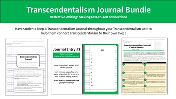 Transcendentalism Journal Bundle