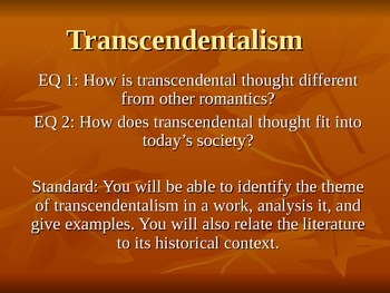 Transcendentalism PPT and Assignment