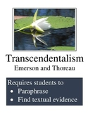 Transcendentalism:  Paraphrasing and Identifying Textual Evidence