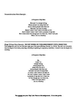 Transcendentalism Poem & Shape Poem