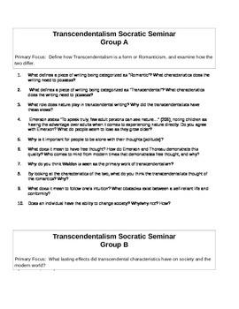 Transcendentalism Socratic Seminar
