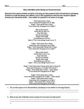"Transcendentalism: Song - ""Three Little Birds"" by Bob Marley"