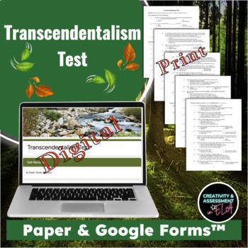 Transcendentalism 55 Question Test - Thoreau and Emerson (Editable)