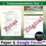 Transcendentalism Test [Editable Print & Digital Self Grad