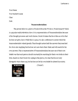 Transcendentalism and Pop Culture Writing Project
