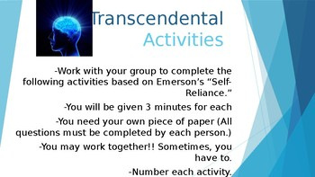 Transcendentalism group activities lesson