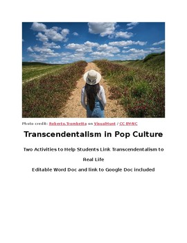 Transcendentalism in Pop Culture - Two Activities, Fully Editable