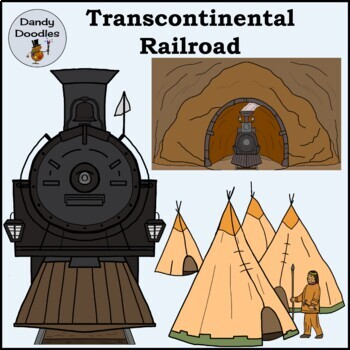 Transcontinental Railroad Clip Art by Dandy Doodles