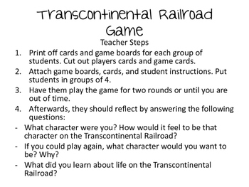 Transcontinental Railroad Game