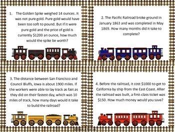 Transcontinental Railroad Math Scavenger Hunt 4th Grade Word Problems
