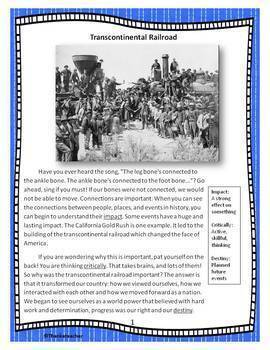 Transcontinental Railroad Unit Includes Engaging Text, Activities, & Art Project