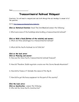 Transcontinental Railroad Webquest