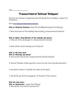 Transcontinental Railroad Webquest