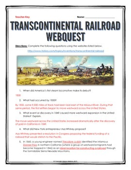 Transcontinental Railroad (Westward Expansion) - Webquest with Key