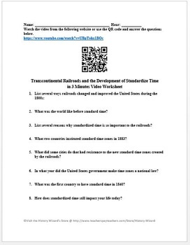 Transcontinental Railroads and the Development of Standardized Time Worksheet