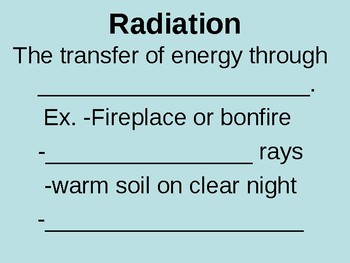Transfer of Heat - Fill in the Blank Notes