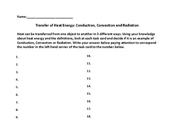 Transfer of Heat Task Cards:  Conduction, Convection and Radiation